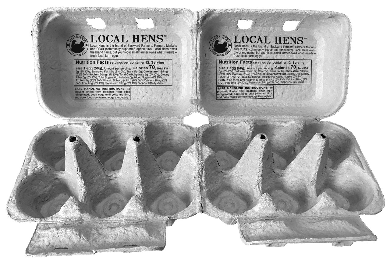Two empty and open Local Hens® Printed Split 6-Egg No Grade/No Size Paper-Pulp Carton with UPC next to each other