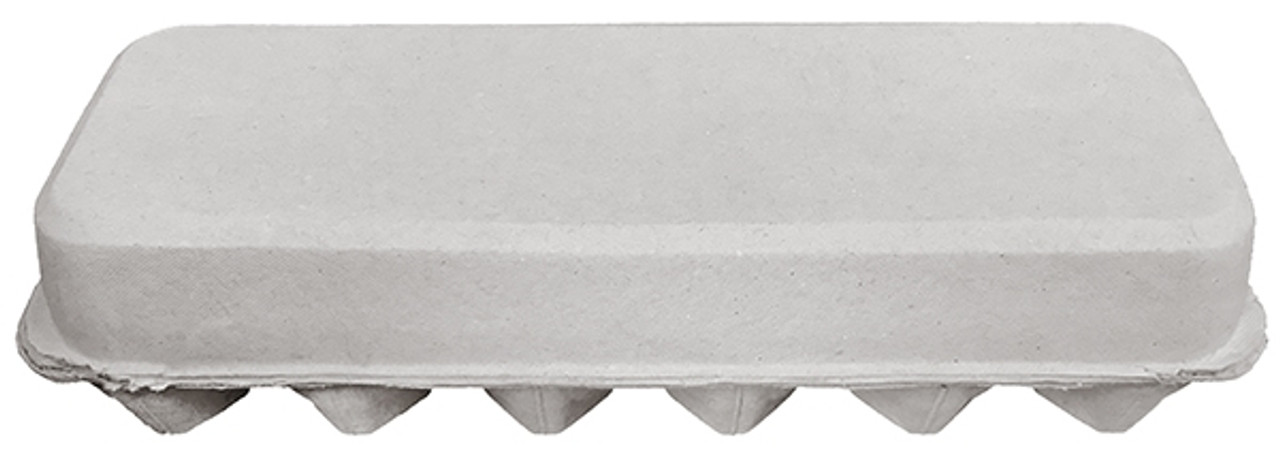 Top view of the back of a closed blank 12-Egg Flattop Style Paper-Pulp Carton