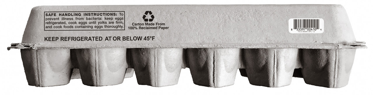Blank 12-Egg Flattop Style Paper-Pulp Carton with Nutrition Facts, Info & UPC 2