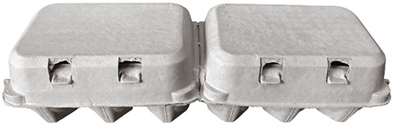 Side view of the front of two closed blank brown split 6-Egg paper-pulp cartons.