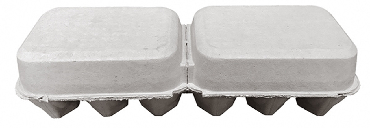 Side view of the back of two closed blank brown split 6-Egg paper-pulp cartons.