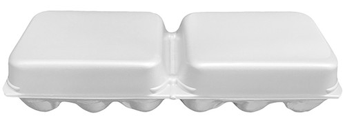 White Split 6-Egg Blank Styrofoam Carton