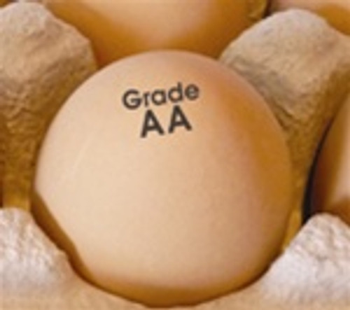 Brown egg stamped with Grade AA text in a paper pulp carton