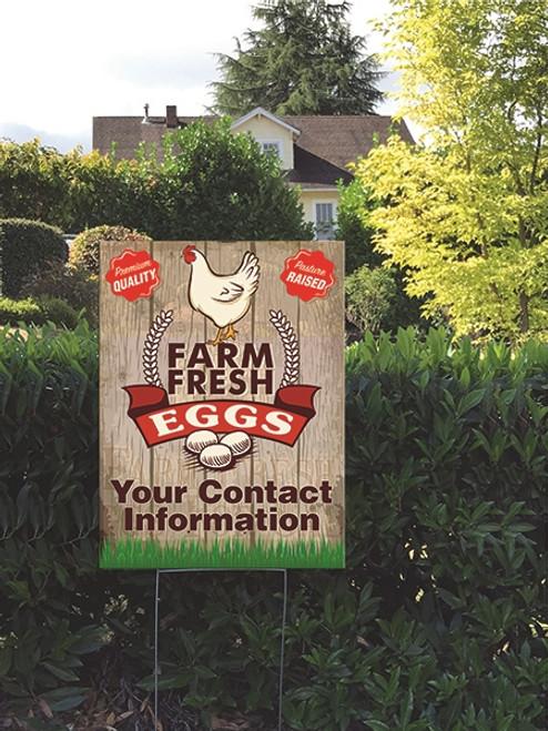 18 x 24 Yard Sign - Farm Fresh Eggs, Chicken, Eggs & Grass planted in a garden