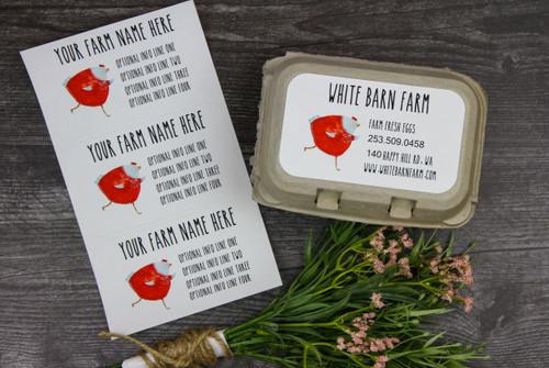 Red Sweater Chicken - Medium Custom Egg Carton Label