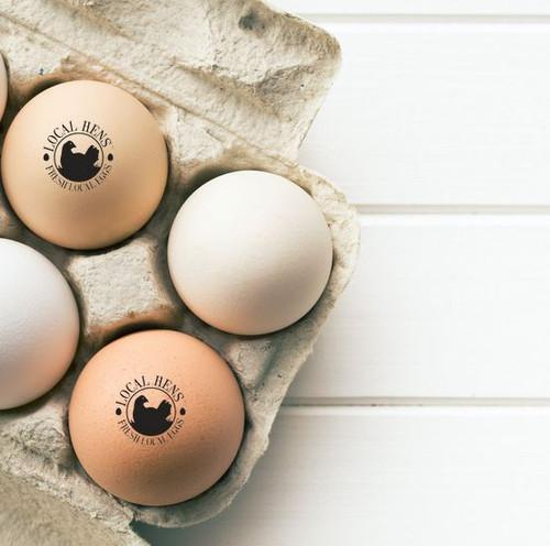 local hens logo black lifestyle egg stamp lifestyle photo