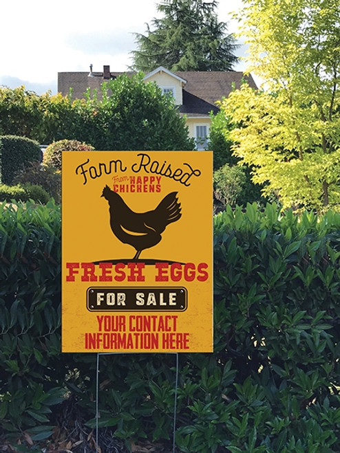18 x 24 Yard Sign - Farm Raised from Happy Chickens