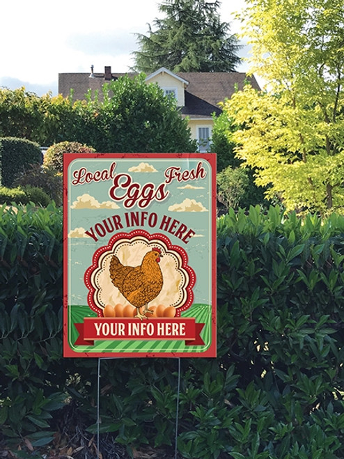 18 x 24 Yard Sign - Local Fresh Eggs Farm, Sky, Chicken & Eggs