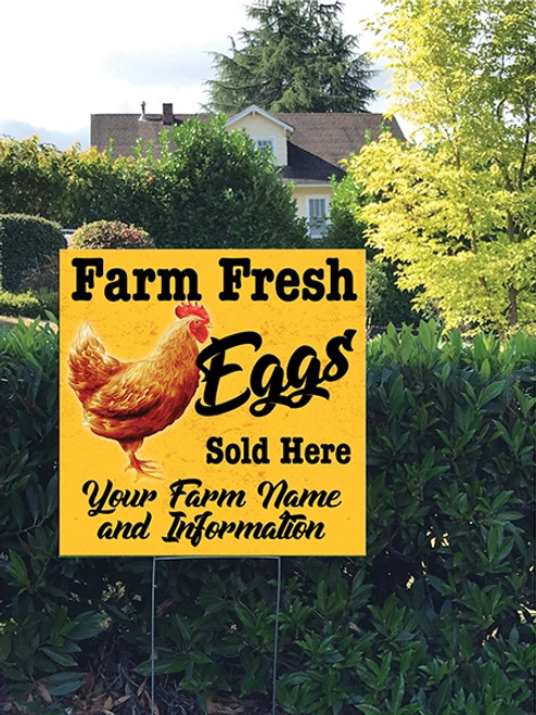 24 x 24 Yard Sign - Chicken Farm Fresh Eggs