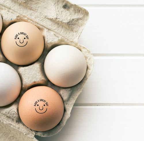 have a great day smiley face egg stamp from the egg carton store - lifestyle photo