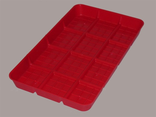 Red Plastic Chick Feeder Lid with Partitions