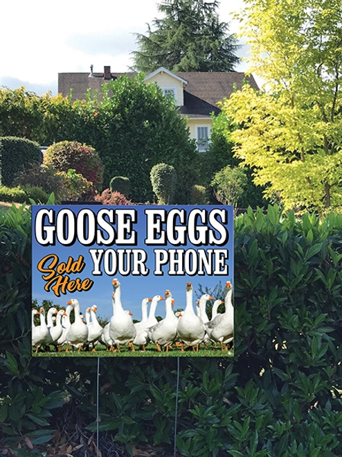 24 x 18 Yard Sign - Goose Eggs, Flock of Geese