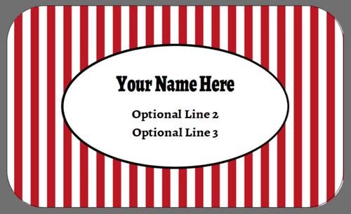 Yellow, Red, Blue Stripes - Medium Custom Egg Carton Label