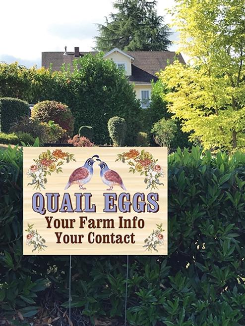 24 x 18 Yard Sign - Quail Eggs, Floral