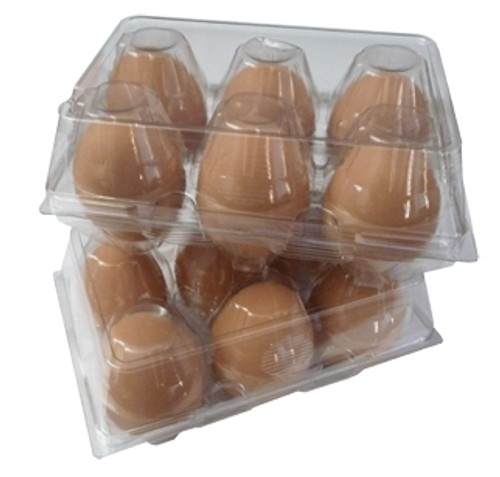 Two standard Cell Split 6-Egg Clear Plastic Carton filled with brown eggs and stacked on top of one another