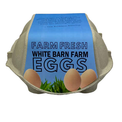 Front view of 4-Egg iMagic Custom Carton Label - Fresh Eggs in Grass attached to paper pulp carton