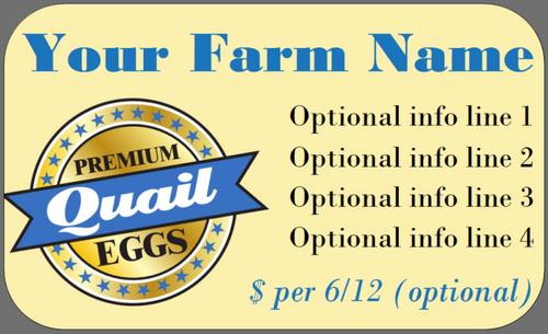 Medium Custom Carton Label Premium Duck or Quail Eggs Seal