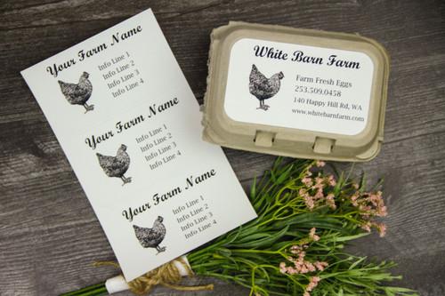 Medium Custom Egg Carton Label - Pen & Ink Black & White Chicken