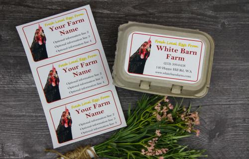 Medium Custom Carton Label Corner Chicken Red Border