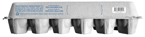 back view of blue Local Hens® Grade A Large Printed Paper-Pulp Carton with UPC
