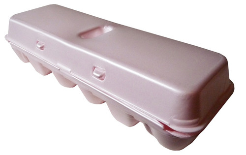 Side angular view of the Jumbo Pink Blank 12-Egg Styrofoam Carton