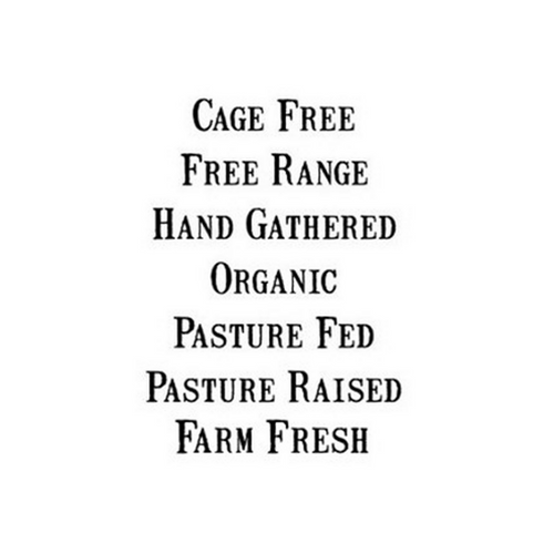 Black text example of different vintage font egg specialties Free range hand gathered organic pasture fed pasture raised