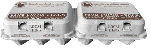 Local Hens® Printed Split 6-Egg No Grade/No Size Paper-Pulp Carton with UPC