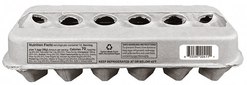 Side view of blank 12-Egg View Style Paper-Pulp Carton with Nutrition Facts, Info & UPC 2