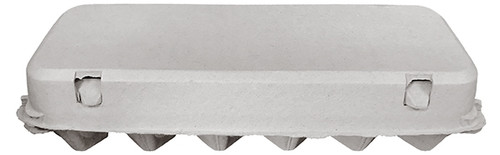 Side view of the front of a closed blank 12-Egg Flattop Style Paper-Pulp Carton