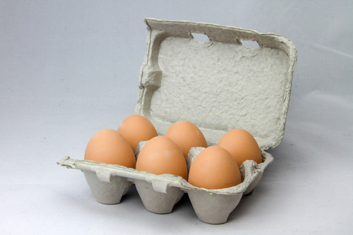Six brown ceramic fake nest eggs in a brown paper pulp carton with a grey background.