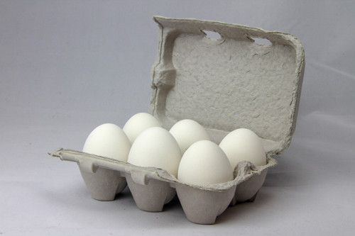 Six white ceramic nest eggs in brown paper pulp carton with white background