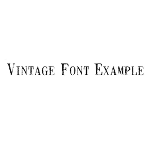 Black text that reads 'Vintage Font Example' on a white background