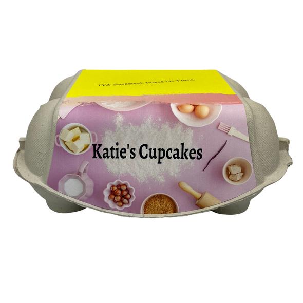 Back view of the 6-Egg iMagic Custom Carton Label - Sweet Treats