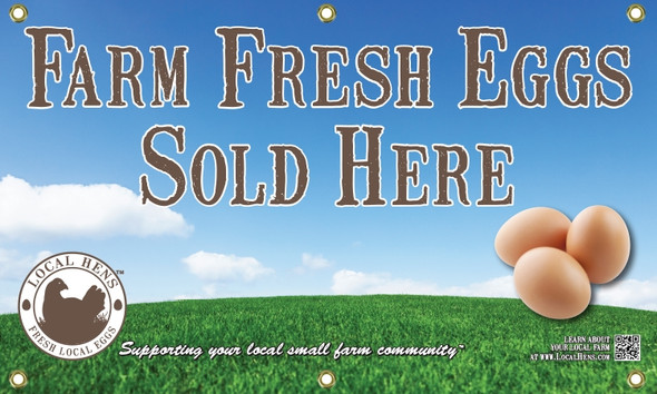 Promote your farm and your fresh local eggs with this Local Hens large banner.
