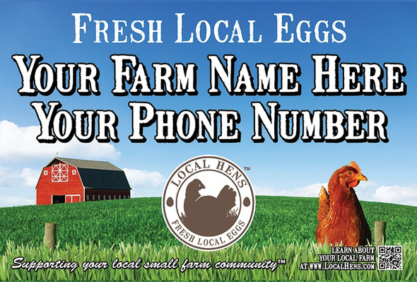 Local Hens Magnetic Vehicle Sign: Chicken/Barn