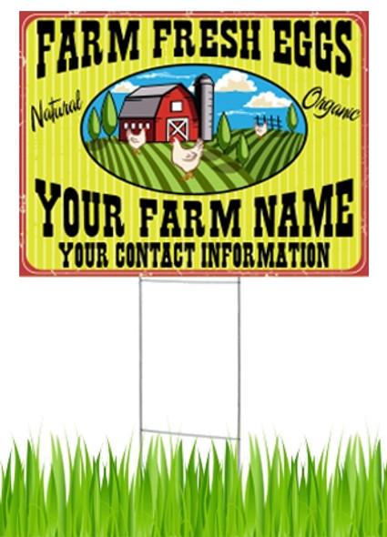 24 x 18 Yard Sign - Farm Fresh Eggs, Yellow Stripe