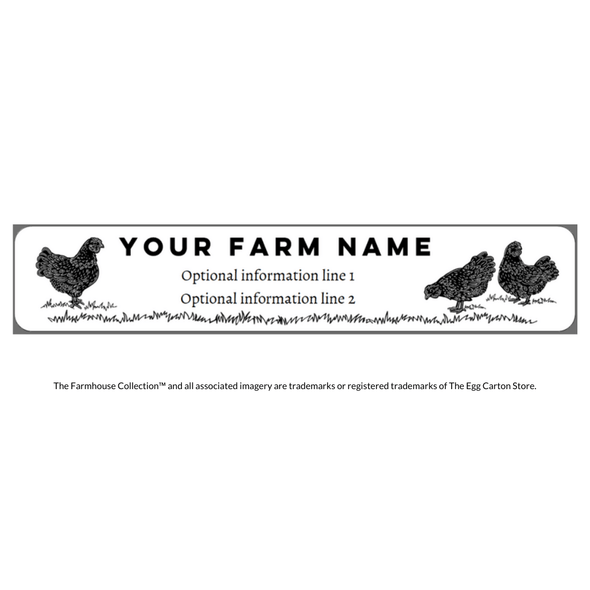 Custom Name & Address Egg Carton Label - Chickens, Small Vintage Hens with Grass