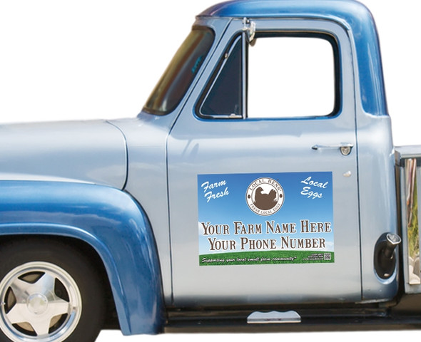 Local Hens Magnetic Vehicle Sign: Sky/Grass on blue pickup truck