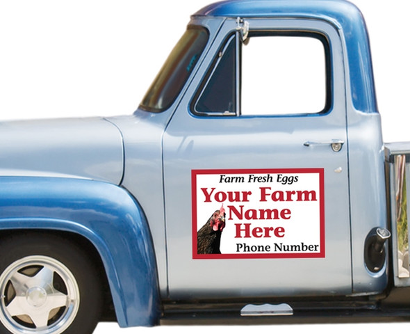 Magnetic Vehicle Sign: Corner Chicken on a blue pickup truck