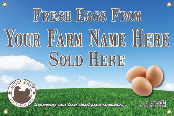 Back view of local hens eggs and grass banner