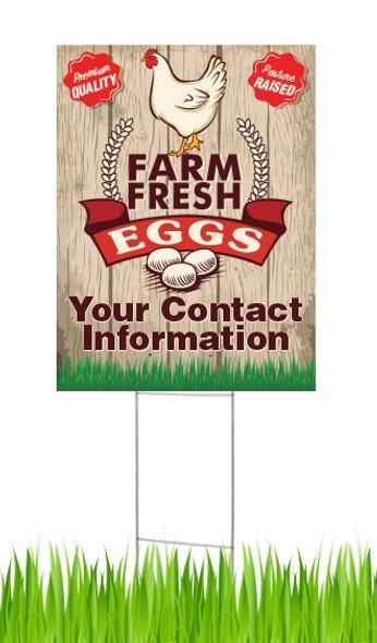 18 x 24 Yard Sign - Farm Fresh Eggs, Chicken, Eggs & Grass