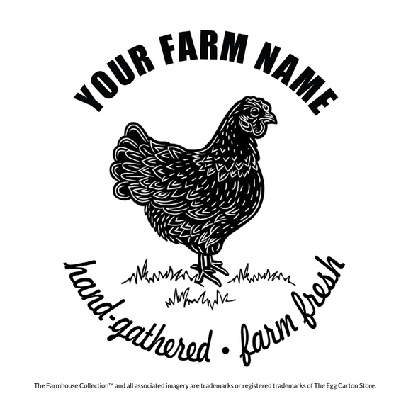 Customizable Egg Carton Stamp of a rustic backyard chicken and customize your farm name
