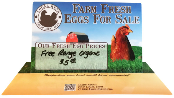 Announce your fresh eggs for sale and write your prices (use dry erase markers) on these inviting, attention getting table talkers.