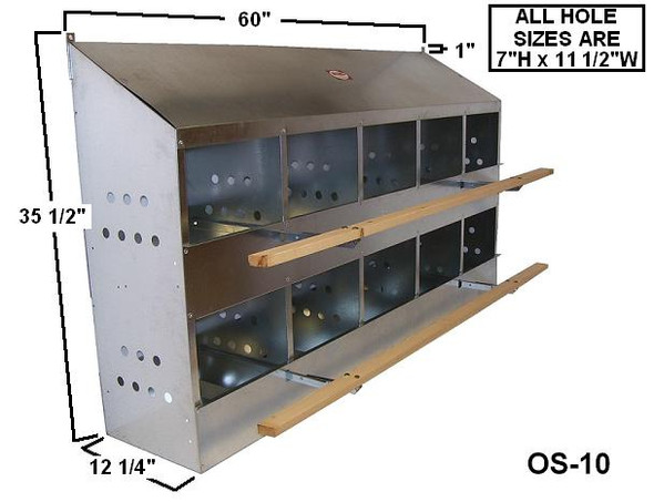 dimensions of the standard 10 hole metal nesting box