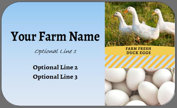 Custom Carton Label 2 x 4 - Duck Eggs