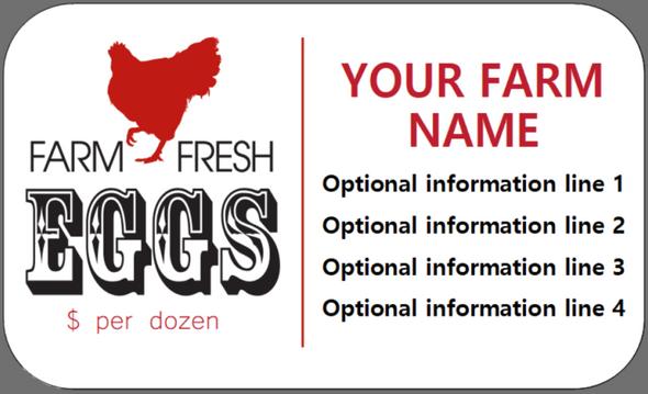 Custom Carton Label 2 x 4 - Farm Fresh Eggs