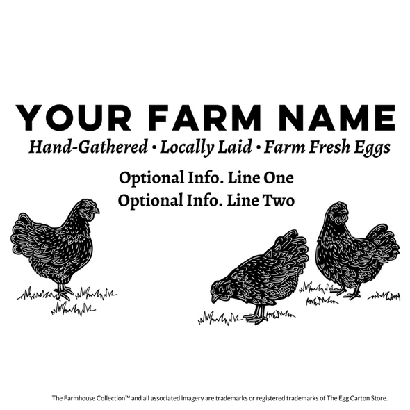 customizable egg carton stamp - the farmhouse collection hens pecking in grass