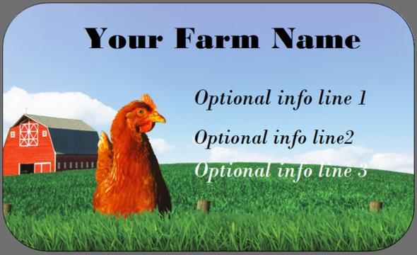 Barn & Chicken - Medium Custom Egg Carton Label