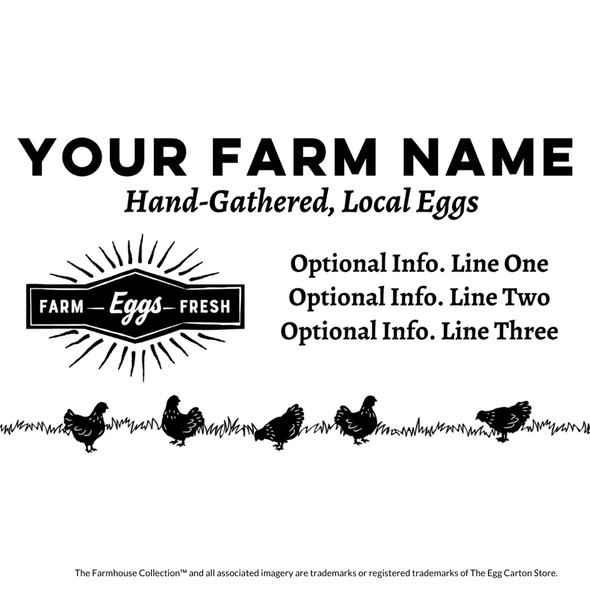 customizable egg carton stamp - grazing hens and starburst hens and starburst design