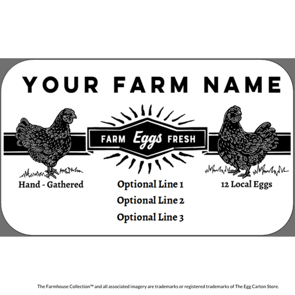 customizable egg carton label with vintage hens and starburst design - the farmhouse collection